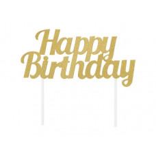 Glitter kaketopp gull, happy birthday. 9x18 cm
